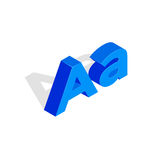 Isometric a letter. Font illustration, first letter. Isometric a letter. Font illustration, first letter a. Blue character Stock Image