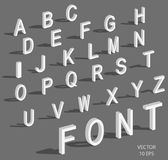 Isometric letters with falling shadow. White isometric 3d font, Three-dimensional alphabet. Low poly 3d characters. Vector illustration royalty free illustration