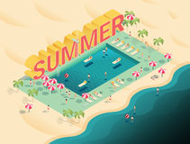 Isometric letters summer text with pool and ocean vector illustr Royalty Free Stock Photography