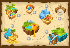 Isometric Levels Game Islands Composition. With trophies and check points on the map vector illustration Royalty Free Stock Images