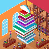 Isometric Library. Stack Books. Concept Knowledge Stock Photo
