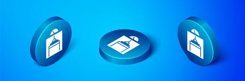 Isometric Lift icon isolated on blue background. Elevator symbol. Blue circle button. Vector