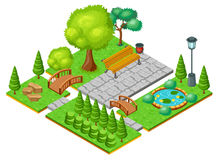 Isometric Light Park Landscape Template Stock Photo