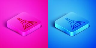 Isometric line Handle broom icon isolated on pink and blue background. Cleaning service concept. Square button. Vector