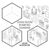 Isometric living room interior constructor. Vector set of isometric Furniture elements of home interior isolated on Stock Image