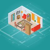 Isometric Living Room Interior. Plan with 3d furniture vector illustration Royalty Free Stock Photo