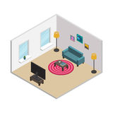 Isometric living room with white walls, windows and furnishings Stock Photography