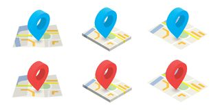 Isometric location on map color  icons set on white backgr. Isometric location on map  icons set on white background Stock Image