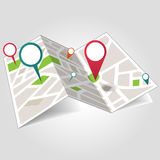 Isometric location map. With map points on white background vector Stock Image