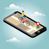 Isometric location. Mobile geo tracking. Male cyclist riding on a bicycle. Map Stock Images