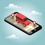 Isometric location. Mobile geo tracking. Map. Royalty Free Stock Photos