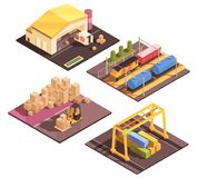 Logistic Sort Facilities Set. Isometric logistic design concept with set of four isolated sort facilitiy buildings appropriate for different transportation modes Royalty Free Stock Photography