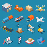 Isometric Logistic Icons stock illustration