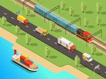 Isometric Logistic Transportation Concept. With ship trucks van and freight train transporting different goods vector illustration Stock Image