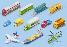 Isometric Logistic Transportation Set. With car van trucks airplane ship helicopter freight train wagons oil tank  vector illustration Royalty Free Stock Images