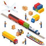 Isometric Logistics composition of different transportation distribution vehicles  Royalty Free Stock Photos