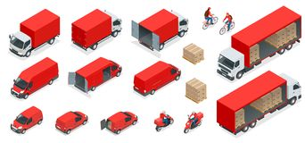 Isometric Logistics icons set of different transportation. Distribution vehicles, delivery elements. Cargo transport isolated on white background Stock Image