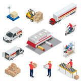 Isometric Logistics icons set of different transportation distribution vehicles, delivery elements. Vehicles designed to Royalty Free Stock Photo