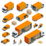 Isometric Logistics icons set of different transportation. Distribution vehicles, delivery elements. Cargo transport isolated on white background Stock Photo