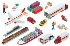Isometric logistyk ikony ustawiać różni transport dystrybuci pojazdy, doręczeniowi elementy Lotniczego ładunku przewozić samochod ilustracja wektor