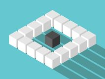 Isometric lonely cube concept Royalty Free Stock Images