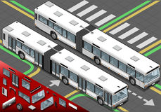 Isometric Long Bus in Front View Royalty Free Stock Images
