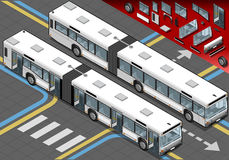 Isometric Long Bus in Front View with open doors Royalty Free Stock Photo