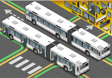 Isometric Long Bus in Rear View with open doors Royalty Free Stock Image