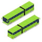 Isometric long green bus. Urban passenger transport. Stock Photo