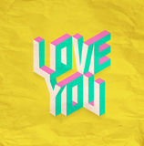 Isometric Love You quote background Stock Images