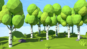 Isometric low poly birch, 3D rendering Royalty Free Stock Photo