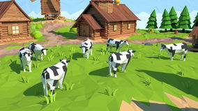 Isometric low poly cow, 3D rendering. Illustration Stock Image