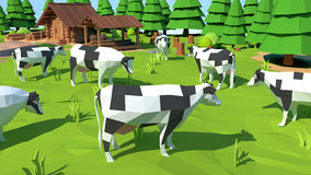Isometric low poly cow, 3D rendering. Illustration Royalty Free Stock Photo