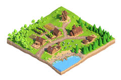 Isometric low poly village, 3D rendering, cartoon. Isometric low poly village, 3D rendering, illustration Stock Photography