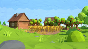 Isometric low poly village, 3D rendering Stock Photo