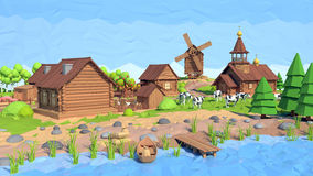 Isometric low poly village, 3D rendering Stock Image
