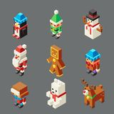 Isometric lowpoly christmas characters winter new year polygonal 3d isolated icons set flat cartoon design vector. Isometric lowpoly christmas characters new stock illustration