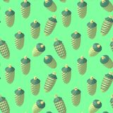 Isometric lowpoly fir cone pattern. Vector isometric low poly New Year s toy fir cone. Seamless background Royalty Free Stock Photography