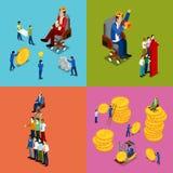 Isometric ludzie biznesu Drużynowa praca, pieniądze inwestycja i Pieniężny sukcesu pojęcie, ilustracja wektor