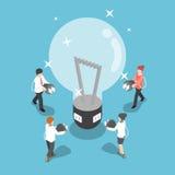 Isometric ludzie biznesu iść podładowywać pomysł od dużego światła ilustracji