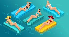 Isometric ludzie 3d dziewczyny w kostium kąpielowy plaży ilustracja wektor