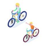 Isometric ludzie Isometric bicykl odizolowywający Cyklista ikona 3D Płascy isometric ludzie ustawiają cyklisty bicyklu ikony royalty ilustracja
