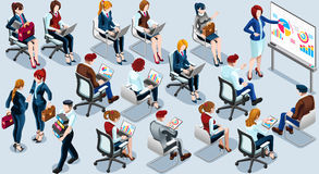 Isometric ludzie prezentaci ikony 3D Ustalonej Wektorowej ilustraci Obraz Stock