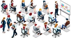 Isometric ludzie sprzedaży szkolenia 3D ikony Ustalonej Wektorowej ilustraci ilustracji