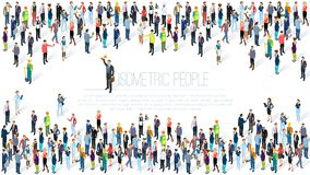 Isometric ludzie tłumów ilustracja wektor