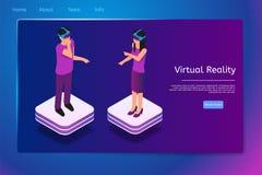 Isometric ludzie Używają rzeczywistość wirtualna szkła w 3d ilustracja wektor