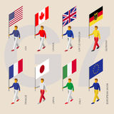 Isometric ludzie z flaga grupa Siedem G7 royalty ilustracja