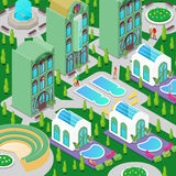 Isometric Luxury Hotel Building with Swimming Pool, Fountain and Green Garden Royalty Free Stock Photo