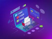 Isometric Mądrze telefonu zakupy online pojęcie Online sklep, wózek na zakupy ikona Ecommerce ilustracja wektor