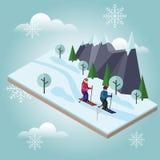 Isometric mężczyzna i kobiety narciarstwo Przecinającego kraju narciarstwo, zima sport Olimpiady, rekreacyjny styl życia, aktywno zdjęcie royalty free